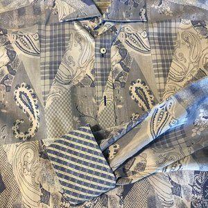 Thomas Dean Casual Button Down Shirt Blue & White